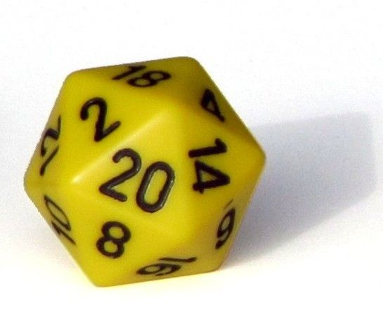 Ziffernwürfel 1-20 - gelb