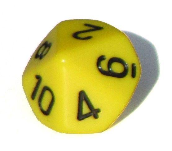 Ziffernwürfel 1-10 - gelb