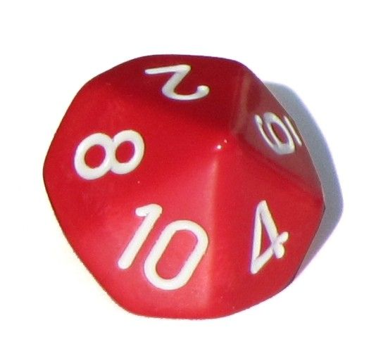 Ziffernwürfel 1-10 - rot