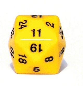 Ziffernwürfel 1-24 - gelb