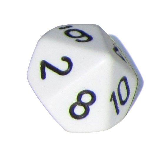 Ziffernwürfel 1-10 - weiß