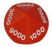 Ziffernwürfel 0000-9000 - rot
