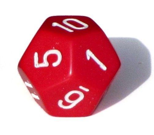 Ziffernwürfel 1-12 - rot