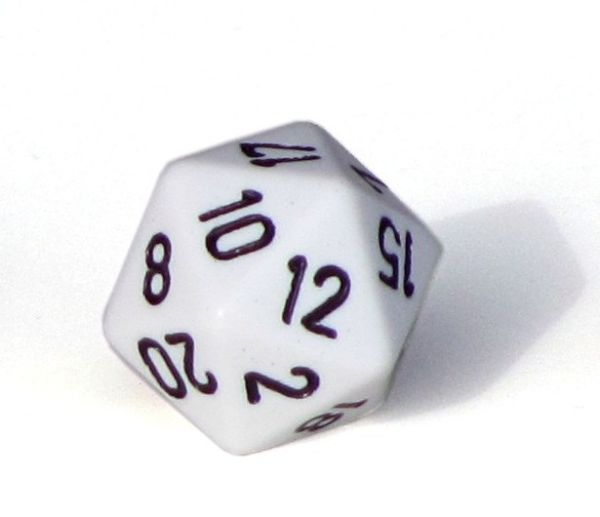 Ziffernwürfel 1-20 - weiß