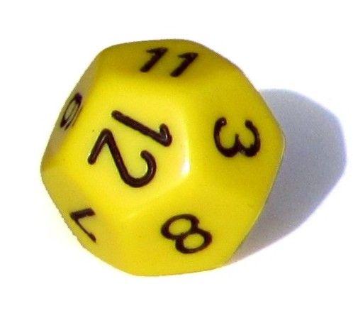 Ziffernwürfel 1-12 - gelb