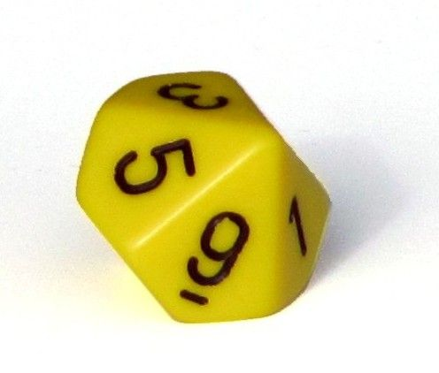 Ziffernwürfel 0-9 - gelb